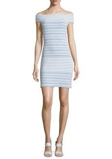 Shoshanna Off-the-Shoulder Striped Knit Dress