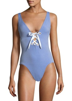 Shoshanna One-Piece Lace-Up Swimsuit