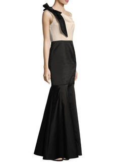 Shoshanna One-Shoulder Bow Mermaid Gown