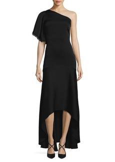 Shoshanna One-Shoulder Hi-Lo Gown