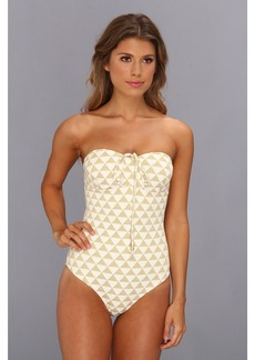 Shoshanna Palm Desert Triangles Beaded One-Piece