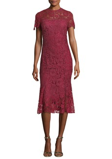 Shoshanna Park High-Neck Lace Trumpet Midi Cocktail Dress