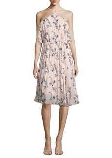 Shoshanna Pleated Floral-Print Halter Dress