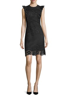Shoshanna Poppy Lace Cap-Sleeve Dress