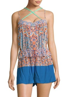 Shoshanna Printed Crisscross Cover-Up