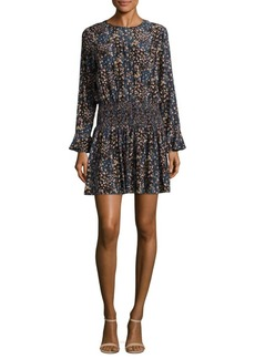 Shoshanna Printed Silk Blouson Dress