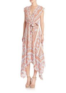 Shoshanna Printed Silk Wrap Dress