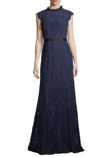 Shoshanna Raeberry Cap-Sleeve Lace Column Evening Gown