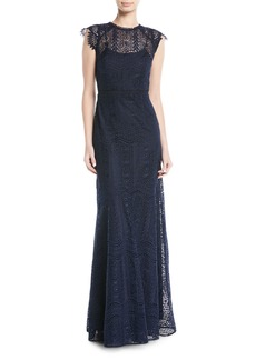Raven Cap-Sleeve Lace Gown