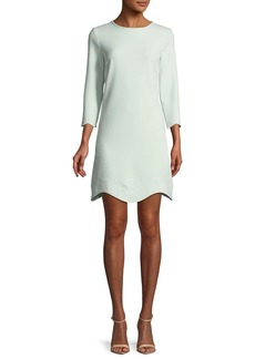 Shoshanna Reina Three-Quarter Sleeve Scalloped Mini Dress