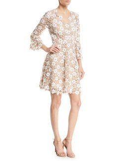 Shoshanna Ren Floral Lace V-Neck A-Line Dress