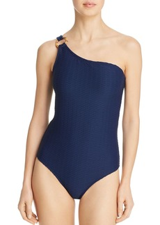 Shoshanna Ring One Shoulder One Piece Swimsuit