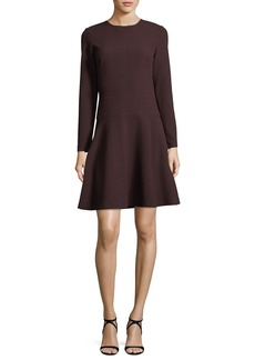 Shoshanna Rio Long-Sleeve Fit-and-Flare Textured Knit Dress
