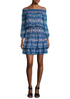 Shoshanna Rosalyn Off-the-Shoulder Printed Silk Blouson Dress