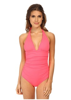 Shoshanna Ruched Halter One-Piece