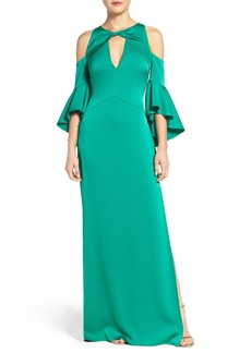 Shoshanna Ruffle Cold Shoulder Crepe Satin Gown