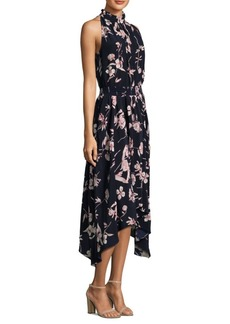 Shoshanna Ruffled High Neck Silk Dress