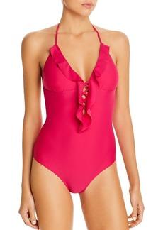 Shoshanna Ruffled Lattice One Piece Swimsuit