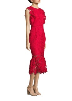 Shoshanna Ruffled Shoulder Lace Midi Dress