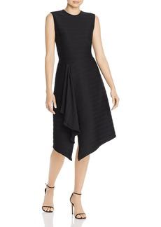 Shoshanna Sabina Ribbed Asymmetric Midi Dress