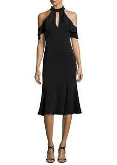 Shoshanna Sausalito Cold-Shoulder Crepe Fit-and-Flare Dress