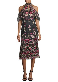 Shoshanna Sausalito Mesh Cold-Shoulder Cocktail Dress