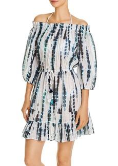 Shoshanna Seaglass Tie Dye Off-the-Shoulder Dress Swim Cover-Up