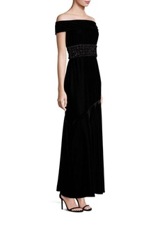 Shoshanna Sequined Waist Off-the-Shoulder Midnight Velvet Gown