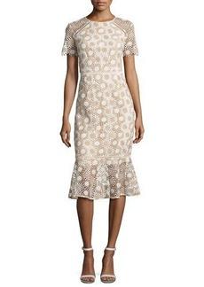 Shoshanna Short-Sleeve Lace Fit-and-Flare Midi Dress
