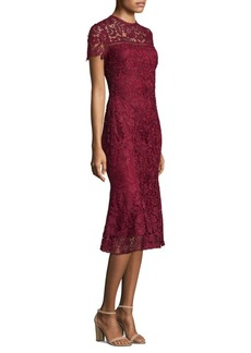 Shoshanna Short Sleeve Lace Midi Dress