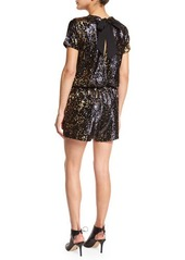 Shoshanna Short-Sleeve Sequined Short Romper