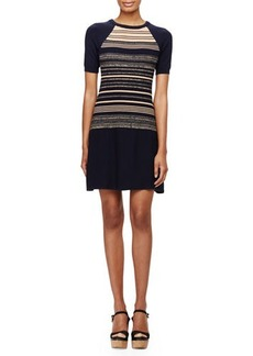 Shoshanna Short-Sleeve Striped Sweaterdress
