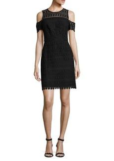Shoshanna Shosanna Crochet Cold-Shoulder Dress