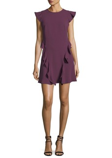 Shoshanna Sibley A-Line Cap-Sleeve Crepe Dress w/ Ruffled Trim