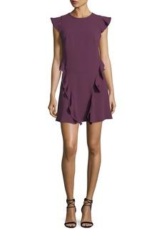 Shoshanna Sibley A-Line Cap-Sleeve Crepe Dress w/ Ruffled Trim