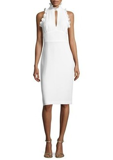 Shoshanna Sleeveless Crepe Mock-Neck Cocktail Dress