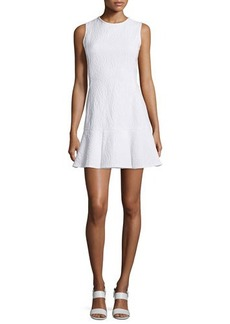 Shoshanna Sleeveless Crewneck Drop-Waist Flounce Dress