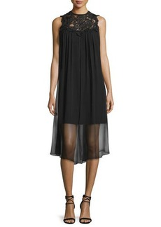 Shoshanna Sleeveless Dress W/ Sheer Overlay
