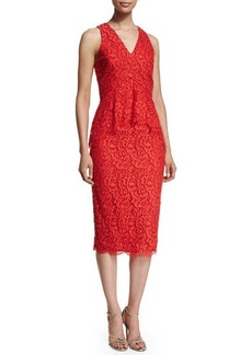 Shoshanna Sleeveless Lace Peplum Cocktail Dress