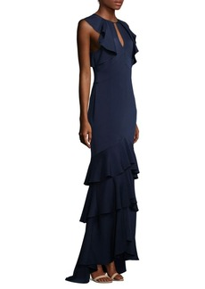 Shoshanna Sleeveless Ruffled Tiered Hem Formal Gown