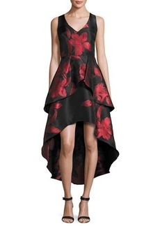 Shoshanna Sleeveless Tiered Floral Jacquard High-Low Dress