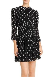 Shoshanna Smocked Rose-Print Mini Dress