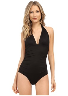 Shoshanna Soft Black Ruched Halter One-Piece