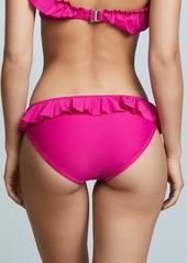 Shoshanna Solid Magenta Ruffle Bikini Bottoms