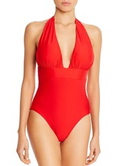 Shoshanna Solid Plunging Halter One-Piece Swimsuit