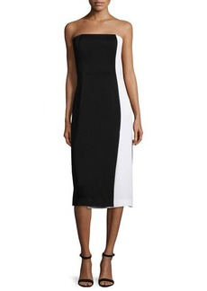 Shoshanna Strapless Body-Conscious Colorblock Dress