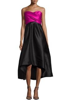 Shoshanna Strapless Sweetheart Colorblock High-Low Dress