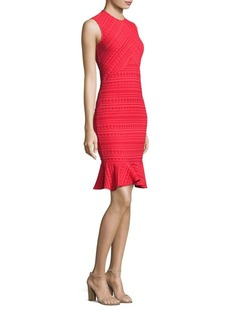 Shoshanna Stretch Jacquard Flounce Hem Sheath Dress