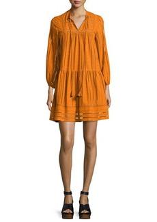 Shoshanna Sunita 3/4-Sleeve Shirred Cotton Dress
