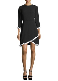 Shoshanna Sutter 3/4 Sleeves Faux-Wrap Scalloped Dress